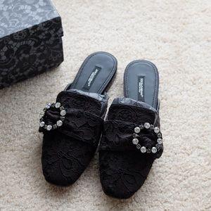 Dolce Gabbana Jackie Lace Slippers Jewel Buckle